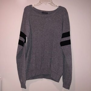 Gray Sweater with Arm Stripes